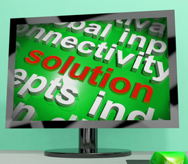Solution Word Screen Cloud Shows Achievement Resolution Solving
