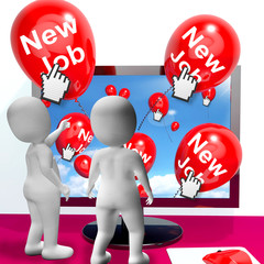New Job Balloons Show Internet Congratulations for New Jobs