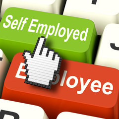 Self Employed Computer Means Choose Career Job Choice