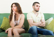 canvas print picture - Young couple having conflict at home
