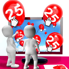 Number 25 Balloons from Monitor Show Internet Invitation or Cele