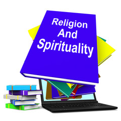 Religion And Spirituality Book Laptop Stack Shows Religious Spir