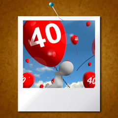 Number 40 Balloons Photo Shows Fortieth Happy Birthday Celebrati