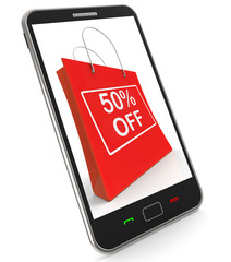 Shopping Bag Shows Sale Discount Fifty Percent Off 50