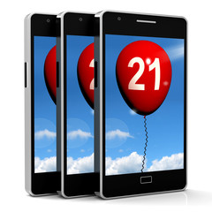 21 Balloon Phone Shows Twenty-first Happy Birthday Celebration