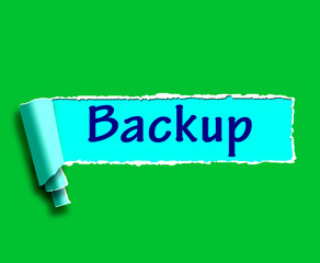Backup Word Shows Data Copying Or Backing Up