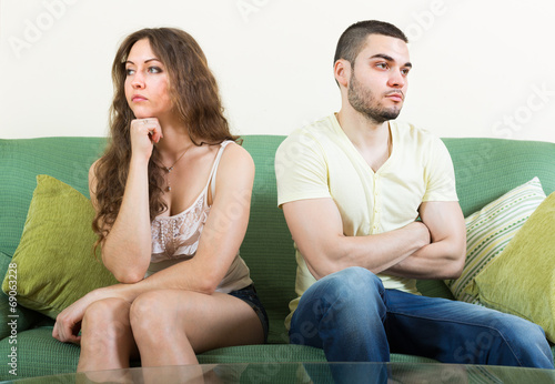 canvas print picture Young couple having conflict at home