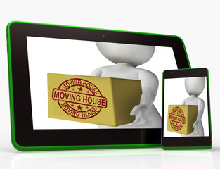 Moving House Boxes Tablet Mean Buying New Home And Relocating