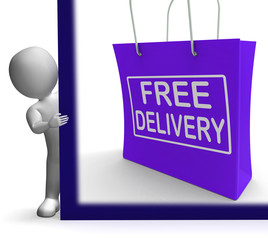 Free Delivery Shopping Sign Showing No Charge Or Gratis To Deliv