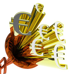 Euro Sign Means European Finances And Currency