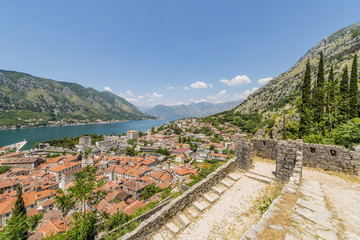 View of the old Kotor Fjord and south. Montenegro