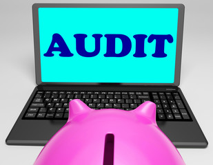 Audit Laptop Means Auditor Scrutiny And Analysis