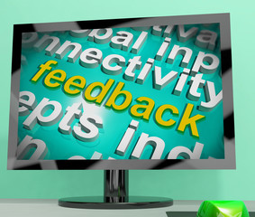 Feedback Word Cloud Screen Shows Opinion Evaluation And Surveys
