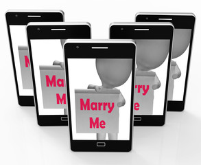 Marry Me Sign Shows Marriage Proposal And Engagement
