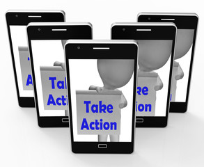 Take Action Sign Means Being Proactive About Change