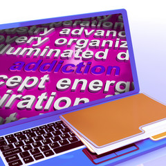 Addiction Word Cloud Laptop Means Obsession Craving And Attachme