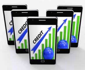 Credit Graph Phone Means Financing Lending And Repayments