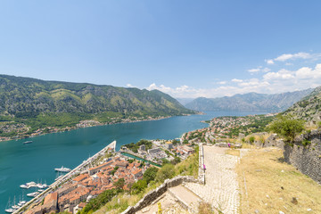 The old town of Kotor Bay and the mountains. Montenegro