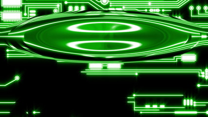 Green Looping Circuit Board Tech Abstract with ocular effect