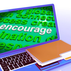 Encourage Word Cloud Laptop Shows Promote Boost Encouraged