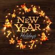 Zdjęcia na płótnie, fototapety, obrazy : New year wreath garland poster