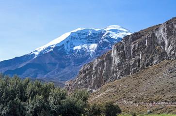 Chimborazo volcano at dawn on a sunny day
