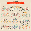 Vintage Hipster Bicycles Vector Label Collection