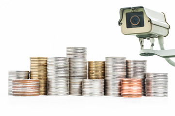 CCTV operating with money in background