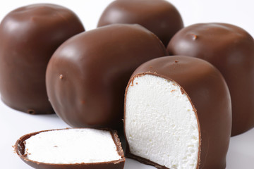 Chocolate-coated marshmallow treats
