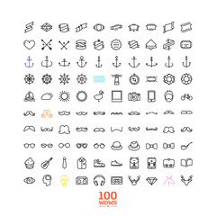 100 Awesome line icon set