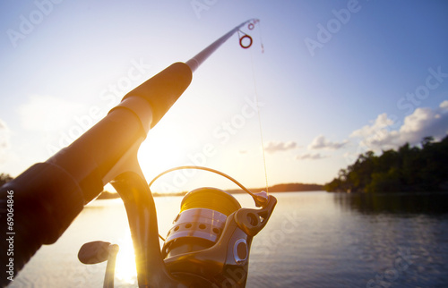 canvas print picture Fishing at sunset