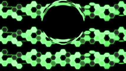 Green Looping Hexagon Tech Abstract with ocular effect