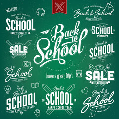 back to school typography labels