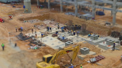 Workers to working in Industrial construction field , Time lapse