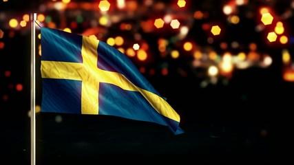 Sweden National Flag City Light Night Bokeh Loop Animation