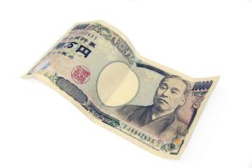 ten thousand yen banknote on white background