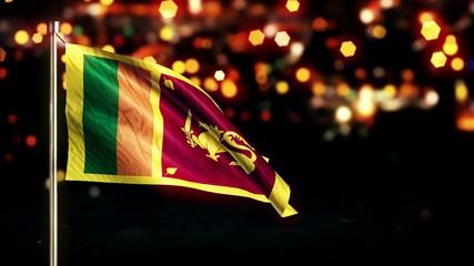 Sri Lanka National Flag City Light Night Bokeh Loop Animation