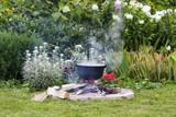 Black pot in garden camp fire