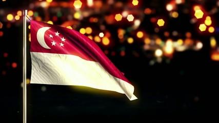 Singapore National Flag City Light Night Bokeh Loop Animation