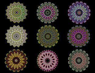 Colorful ornamental mandalas in black background