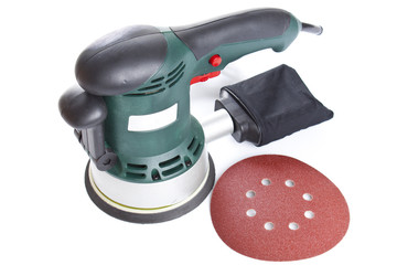Electric sandpaper tool for home handyman use, isolated over .