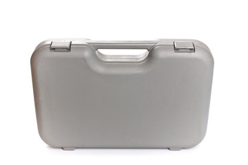 Grey  plastic tool box isolate white background