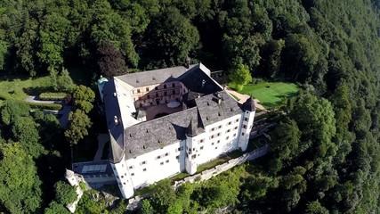 Historical Castle Tratzberg in the Austrian Alps - Aerial Flight