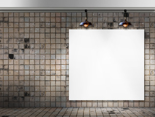 Blank frame with Ceiling lamp in Dirty tile room
