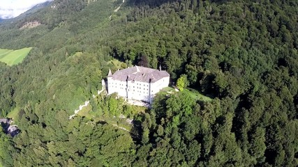 White Fairy Tale Castle in the Mountains - Aerial Flight