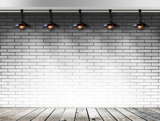 Ceiling lamp whit White Brick wall