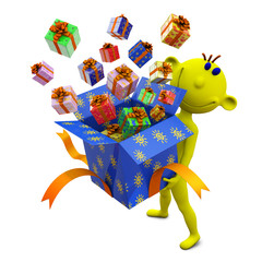 Yellow little man holds box with gifts