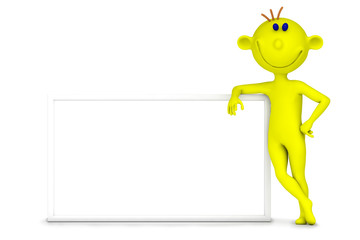 Yellow little man with a report
