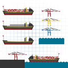 Container Ship with Crane Vector Illustration