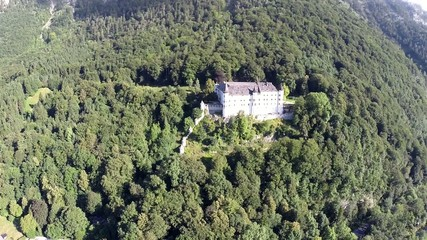Renaissance Castle in the Mountains - Aerial Flight